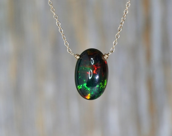 Large Black Opal Pendant Necklace* solid 14K Gold* Cable Chain Egg Shaped Oval Opal Gemstone* Valentine's Day Women's Gift Idea for Her