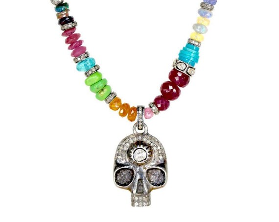 Day of the Dead Necklace with Rose Cut Diamond Skull Pendant, Turquoise and Opal