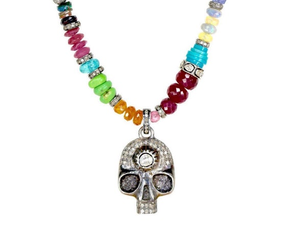 Day of the Dead necklace* Diamond skull pendant* colorful multi color gem quality gemstones* UniSex* Genuine Diamond and gem quality stones
