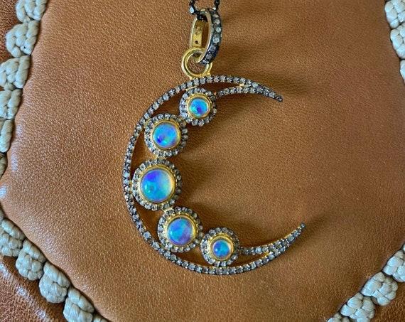 Large Opal Pave Diamond Crescent Moon Pendant Necklace