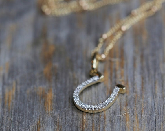 Diamond Horseshoe Necklace 14K gold White diamond Lucky Horseshoe Pendant Necklace Gift for Her yellow gold