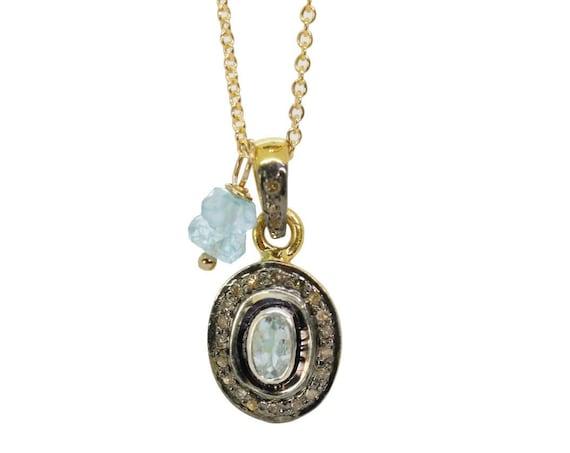 Aquamarine Diamond Oval Pendant Necklace* Mixed Metal