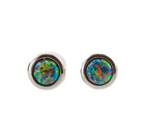 Black Nebula Opal Gemstone Stud Earring*October Birthstone Earring*Bezel Set in .925 Sterling Silver*4mm OPAL STUD EARRING* Lab Opal