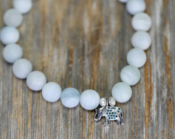Aquamarine Blue Diamond Elephant Bracelet