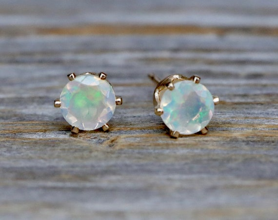 White Opal Stud Earring-Real Ethiopian White Opal Stud-14k Gold Filled Prong Studs-5mm White Opal Studs-October Birthstone Gift