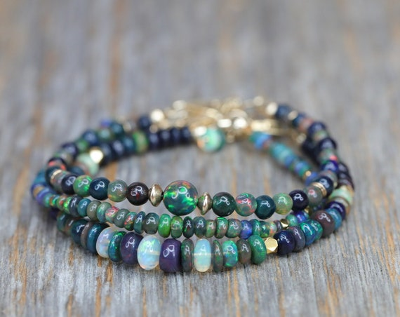 BLACK OPAL BRACELET October birthstone opal gemstone bracelet white and black opal gold bracelet October birthday gift for her Gold filled