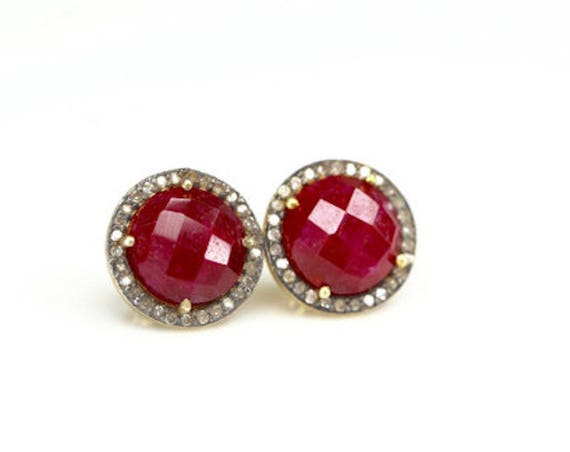 Large Ruby Pave Diamond Post Earring