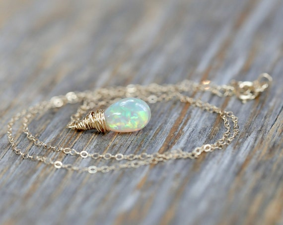 Genuine Opal Drop Necklace* 14k Gold *Real Ethiopian Opal Gemstone* 3.8 CARATS* October Birthstone Women's Jewelry Gift Idea