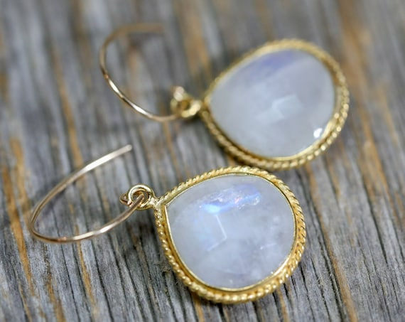 Rainbow Moonstone Drop Earrings Gold vermeil and 14k Gold filled June Birthstone Gift Idea for Her Women's Jewelry