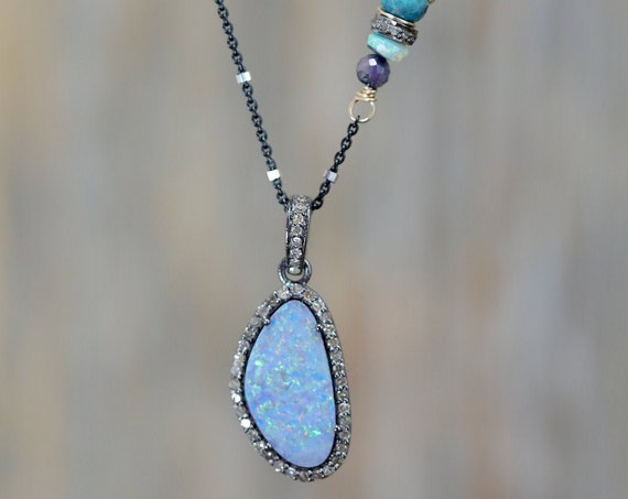 Genuine Australian Opal Pendant Necklace with pave Diamonds Sterling Silver .925 October Birthday Gift Idea for Her