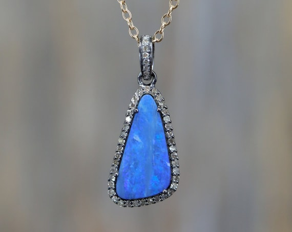 Australian Blue Boulder Opal Pendant Necklace * opal diamond necklace*October birthstone Pave Diamond oxidized sterling silver Mixed Metal