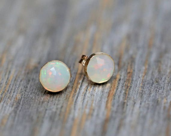Faceted White opal Stud Earring