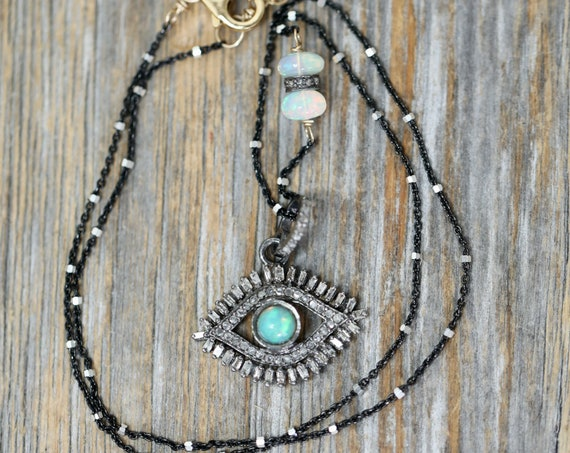 Opal Diamond Eye Pendant Eye Necklace Evil Eye Gift for Her pave and baguette diamond oxidized sterling silver mixed metal Third Eye