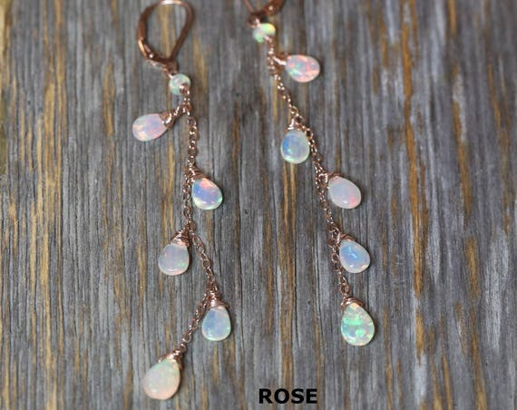 Opal earring Ethiopian White Opal earring fire opal earring sterling silver rose gold long thin feminine earring wedding gift for her beaded