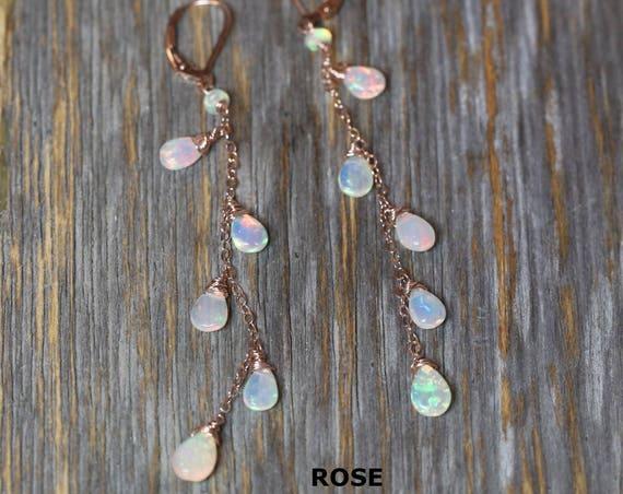 Opal earring Ethiopian White Opal earring fire opal earring sterling silver rose gold long thin feminine earring wedding gift for her beaded