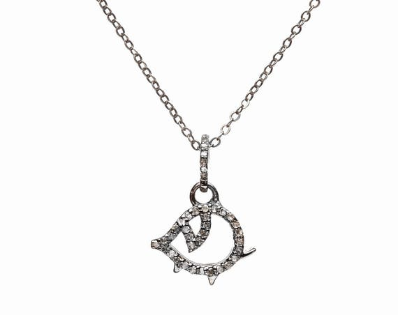 Pig Diamond Pendant Necklace