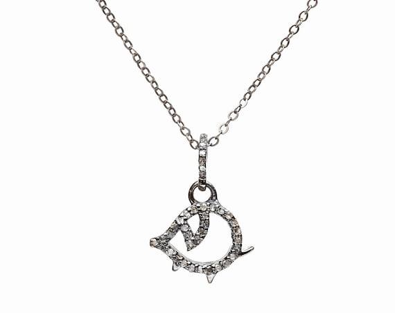 pave diamond pig necklace genuine diamond pig charm- charitable donation