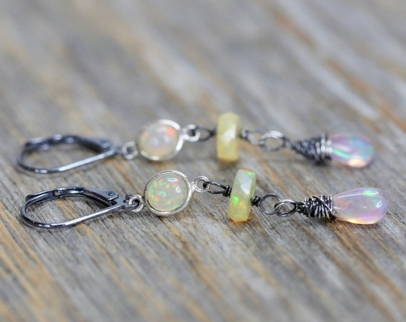 Opal Teardrop Earring Opal earring white opal drop earring October birthstone October birthday gift for her Ethiopian opal sterling silver