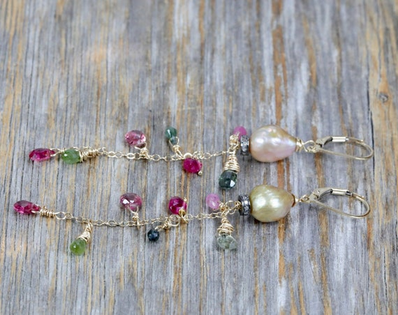 """Tourmaline Pearl Gemstone Cascade Earrings- Baroque Pearls- Mixed Metal- Multi color- 3.25"""" Length- October Birthstone- Gift For Her"""
