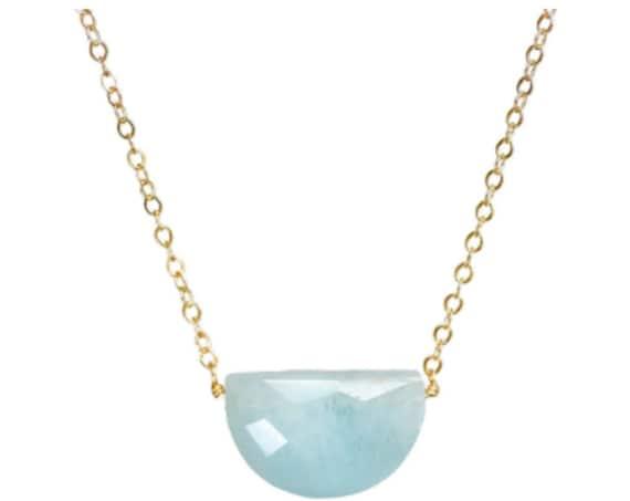 Aquamarine Gemstone Crescent Moon Necklace- Gold- Women's Jewelry -Birthstone Birthday - Mother's Day Gift Idea