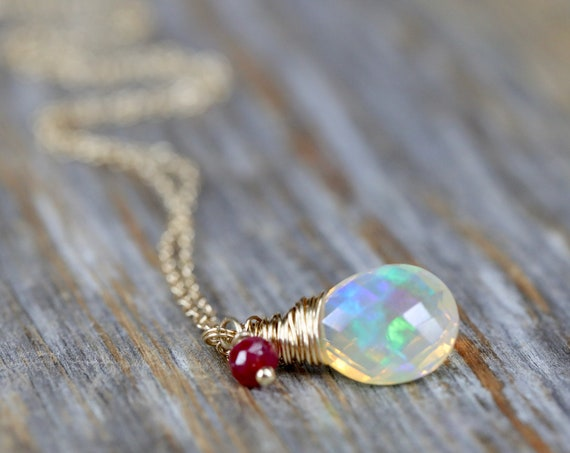 Natural Opal Gemstone Necklace 5 carat Opal Pear shaped drop Pendant Necklace 14K Gold October birthstone Gift for Her October birthday