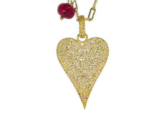 Large 14k Gold Vermeil Diamond Heart Pendant Necklace- 14k gold filled celebrity paperclip chain chain- Mother's Day Gift Idea for Her-ruby