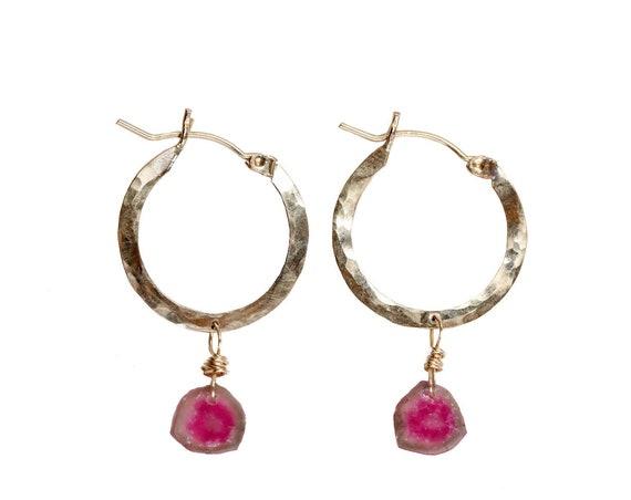 Tourmaline Gemstone Earring-Hoop Earrings-Tourmaline Hoops-Tourmaline Slice Earring-Pink and Green Earrings-Watermelon Tourmaline Jewelry