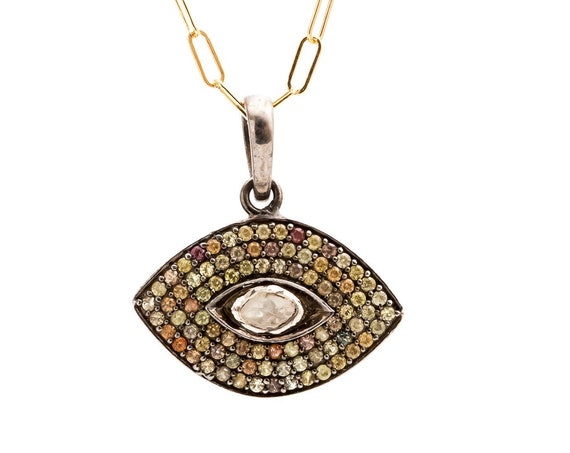 Diamond Sapphire Evil Eye Pendant Necklace* Women's Jewelry* Gift for Her* Sterling Silver* 14k Gold* Mixed Metal* Yoga Jewelry* Third Eye
