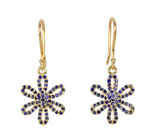 Pave Blue Sapphire Daisy Flower Earrings* Genuine Blue Sapphire Gemstones* Mother's Day Gift Idea for Her* Women's Jewelry