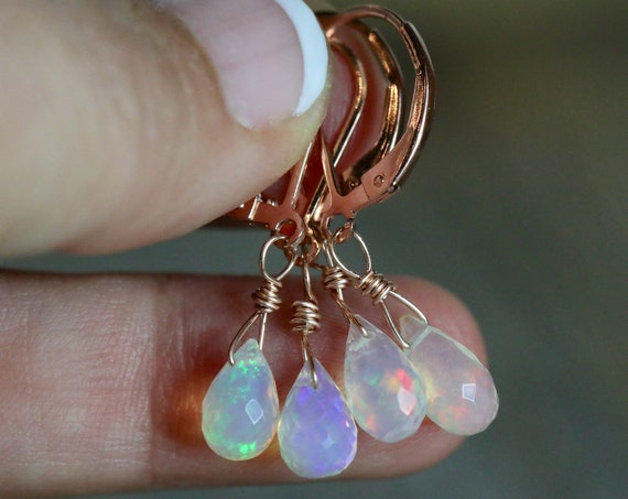 Opal Teardrop Earrings-Ethiopian Welo Opal-October Birthday Gift-Ethiopian Opal Earrings-Boho Opal Earrings-14k ROSE gold Filled