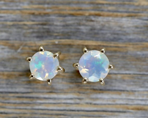 14k Gold White Opal Stud Earring * Solid 14k Prong Set * 6mm Ethiopian Opal Gemstone * Gift for her * October Birthstone