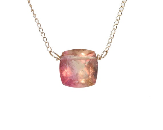 Pink Tourmaline Gemstone Solitaire Pendant Necklace- 14k gold- Fusion cut- October birthstone Gift For Her