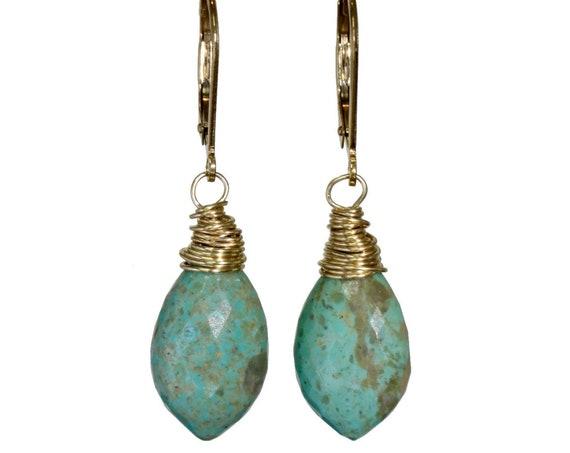 Genuine Kingman Turquoise Gemstone Marquise Drop Earring- 14k Gold Filled- Women's Jewelry Gift Idea for Her- Boho Earthy- Back to School