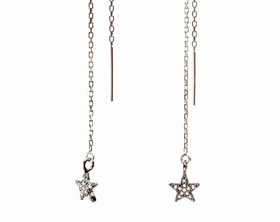 Diamond Star Earrings Threader Earring Sterling Silver Pave Diamond Star Earrings Holiday gift for her dangling star elegant shooting star