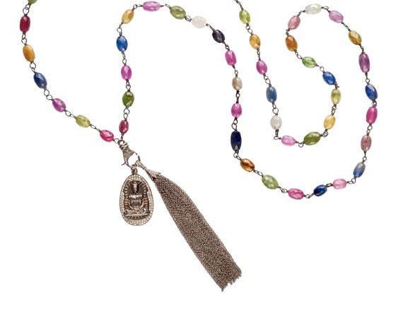 Long Sapphire and Diamond Tassel Necklace With Detachable Encrusted Buddha Pendant