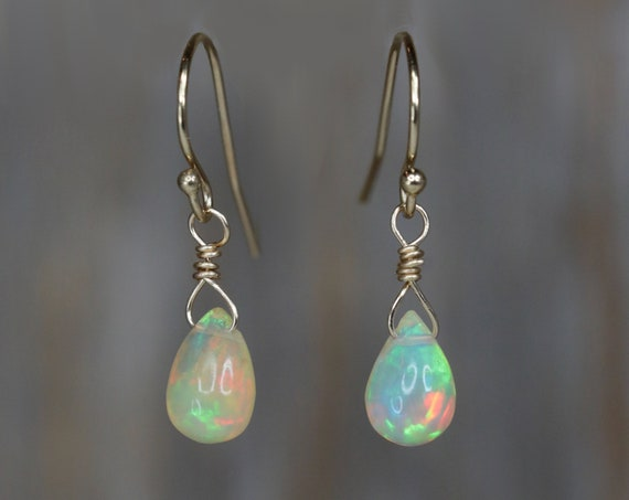 Opal Teardrop Earrings-Ethiopian Welo Opal-October Birthday Gift-Ethiopian Opal Earrings-Boho Opal Earrings- 14k gold Opal Earrings