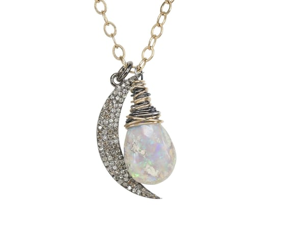 Australian Opal Pave Diamond Crescent Moon Necklace oxidized sterling silver and Gold filled mixed metal October birthstone gift for her