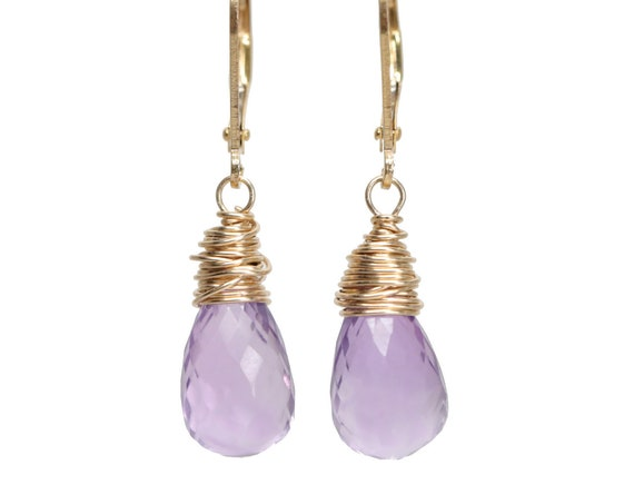 Light Amethyst Gemstone Teardrop Earrings* amethyst earring* February birthstone* purple stone*large teardrop gold earrings*Gift for Her