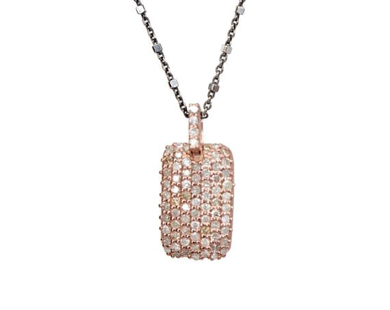 Pave Diamond Dog Tag Necklace Rose Gold vermeil and oxidized sterling silver Mixed metal