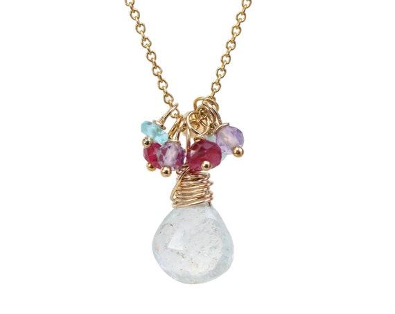 Aquamarine Pear Cluster Necklace *Aqua Pendant Real genuine untreated aquamarine gemstone* ruby amethyst opal apatite * March Birthstone