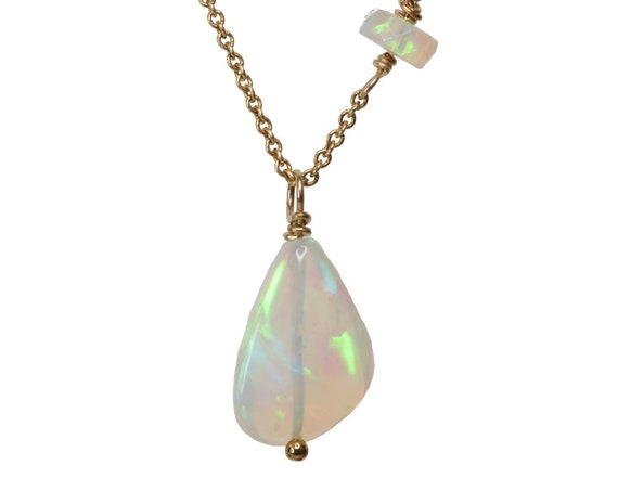 Opal Gemstone Pendant Necklace October birthstone Gift For Her beaded Ethiopian opal Natural opal OOAK October birthday boho