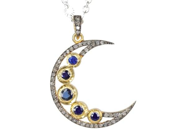 Blue Sapphire Crescent Moon Necklace Pave Diamond large moon Pendant Necklace oxidized sterling silver 24 karat gold vermeil