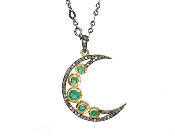 Emerald Moon Necklace Pave Diamond Crescent Moon* Mixed Metal oxidized sterling silver*rose cut emeralds* May Birthstone