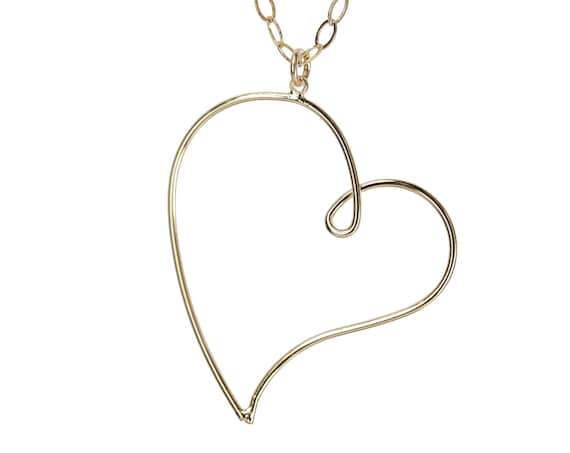 Large Heart Pendant Necklace- 14k gold filled chain- Valentine's Day gift for her- open heart - romantic