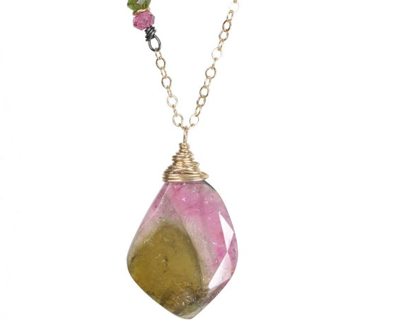 Watermelon Tourmaline Necklace tourmaline gemstone tourmaline slice tourmaline pendant pink and green October birthstone Gift for her
