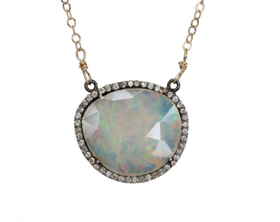 Opal Gemstone Slice Pendant Necklace *Pave Diamond Halo* Oxidized Sterling silver* Rose Cut Ethiopian opal* Gift for her