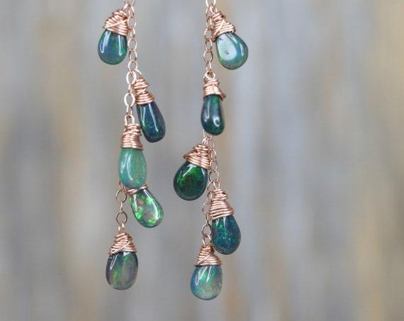 SALE Opal Earrings-Boho Chic Dangle Earrings-Black Ethiopian Opal Earrings-Natural Black Opal Cascade Earring-Opal Dangle Earrings