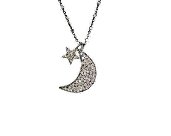 Diamond Moon and Star Necklace Gift for Her Lunar Celestial Necklace Pave diamond Women's diamond crescent moon necklace