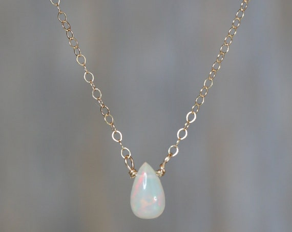 Genuine Natural Ethiopian Welo White Opal Teardrop Necklace* 14k Gold Filled Chain* October Birthstone* Women's Gift Idea