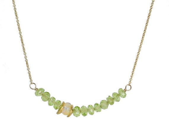 Genuine Peridot and Opal Gemstone Bar Necklace * August Birthstone * Women's Gift idea